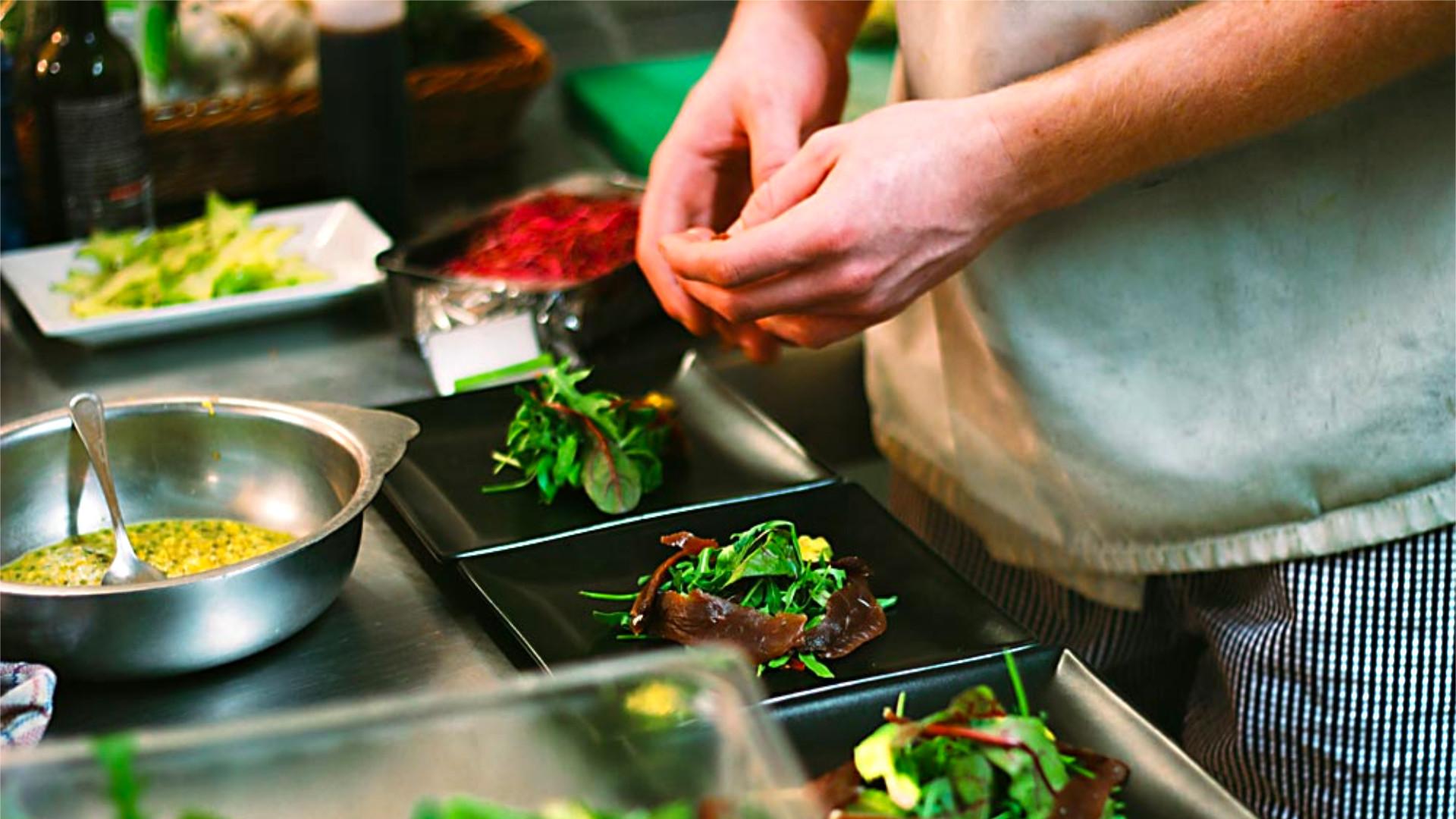 Chef preparing delicious evening meal
